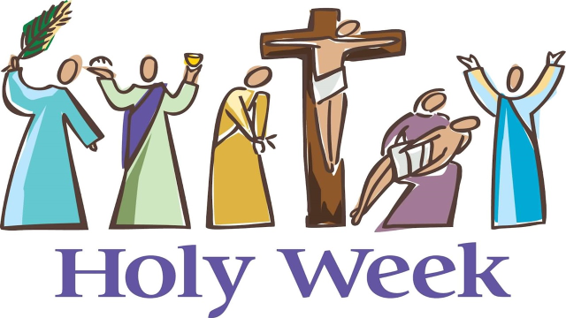 Holy week coloured line drawing